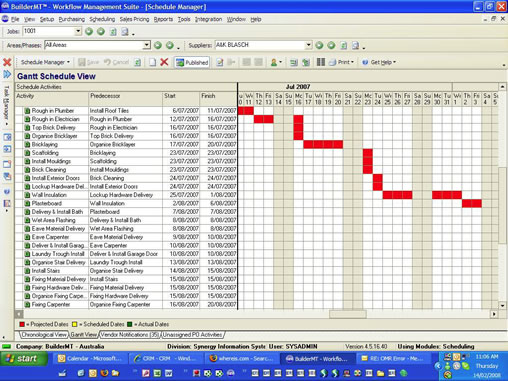 The BuilderMT WMS Construction Schedule Screen